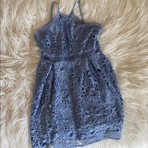 """BLUE """"LACE"""" FIT AND FLARE DRESS"""